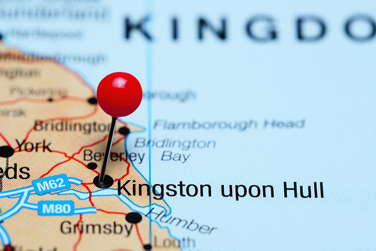 Close-up of a red pushpin in a map Kingston_upon_Hull