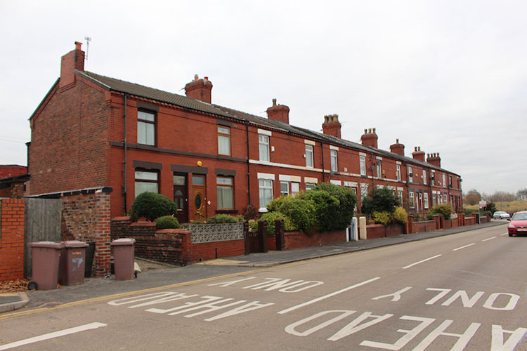 Standard houses near road in Leyland England
