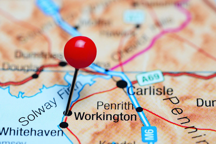 map of Workington Penrith Carlisle area