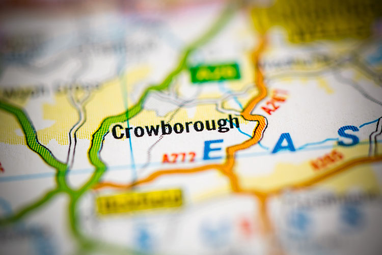 map shows Crowborough town of England