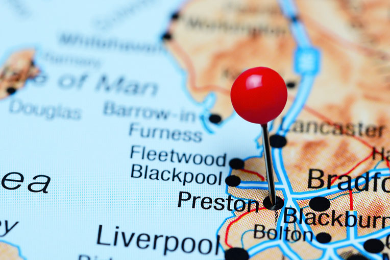 map shows red pin on Preston city of UK