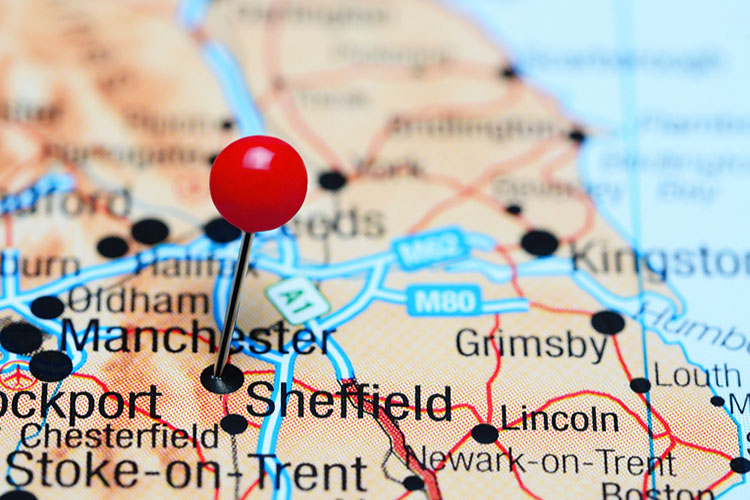 red pin on Sheffield city of England