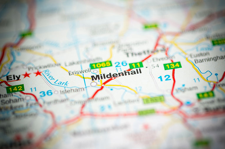 map of Mildenhall