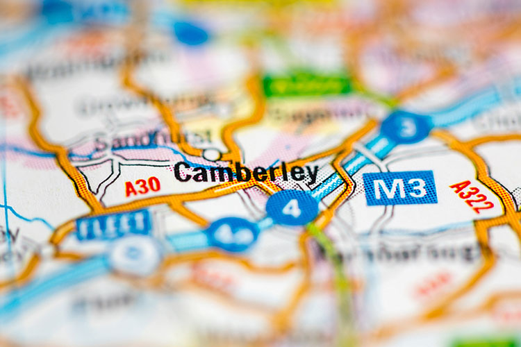 map shows Camberley England