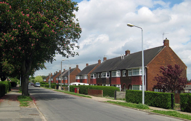 Semi-detached houses close to road in Chessington