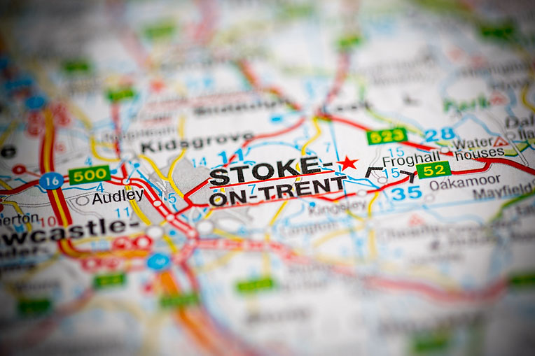 map shows Stoke On Trent