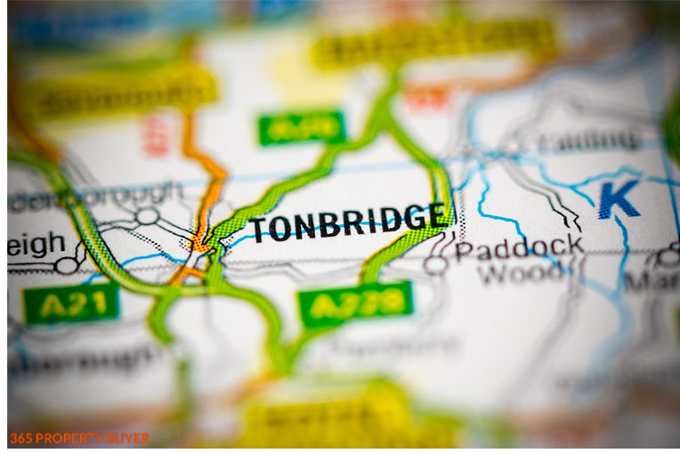 map shows Tonbridge a Town in England