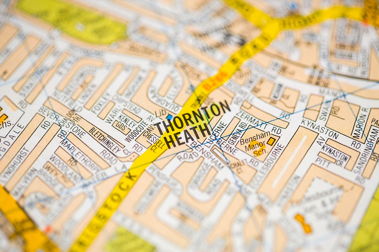 map focusing on Thorton Heath
