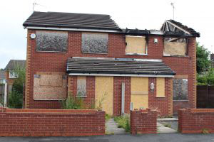 Fire damaged house in Liverpool England